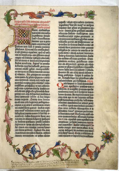《谷登堡圣经》首页,欧洲首批活字印刷品,由同名人谷登堡于1454年到1455年在德意志美因兹印刷。
