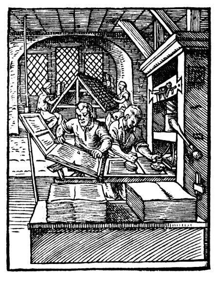 16世纪的欧洲木活字印刷作坊。